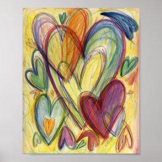 Loving Healing Hearts Painting Art Print Poster