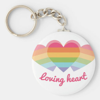 Loving Heart Basic Round Button Keychain