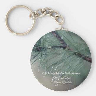 Loving Heart..Classic Button Keychain - Wet Leaves