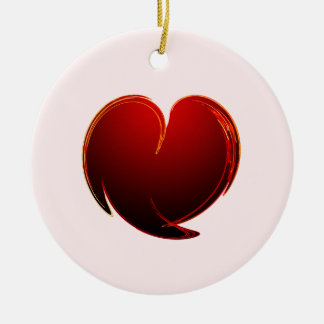 Loving Heart Double-Sided Ceramic Round Christmas Ornament