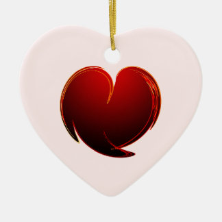 Loving Heart Double-Sided Heart Ceramic Christmas Ornament