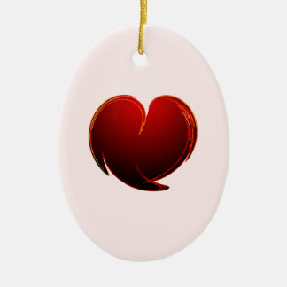 Loving Heart Double-Sided Oval Ceramic Christmas Ornament