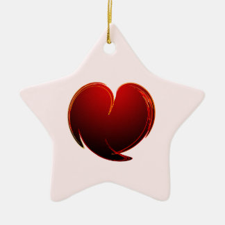 Loving Heart Double-Sided Star Ceramic Christmas Ornament