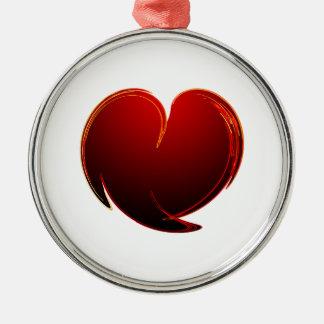 Loving Heart Round Metal Christmas Ornament
