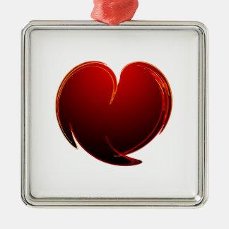 Loving Heart Square Metal Christmas Ornament