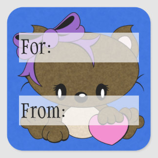 Loving Kitty Square Stickers