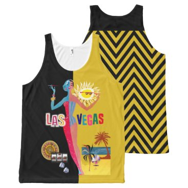 Beach Themed Loving Las Vegas | vintage gold & black All-Over-Print Tank Top