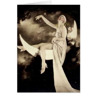 Loving Life Flapper on Moon Vintage photo card