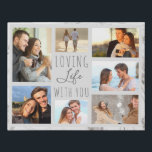 """Loving Life with You 7 Photo Collage - Grey Marble Faux Canvas Print<br><div class=""""desc"""">Modern photo collage faux canvas which you can personalize with 7 of your favorite photos. The template is set up ready for you to add your photos, working clockwise from the top left. Your photos are set against a stylish watercolor marble in grey and white. The wording reads """"loving life...</div>"""