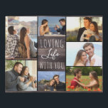 """Loving Life with You 7 Photo Collage - Rustic Wood Faux Canvas Print<br><div class=""""desc"""">Rustic photo collage faux canvas which you can personalize with 7 of your favorite photos. This country farmhouse wood effect design is lettered with the words """"loving life with you"""" in elegant handwritten script and skinny font typography. The photo template is set up ready for you to add your pictures,...</div>"""