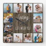 Loving Life with You Quote 12 Photo Wood Square Wall Clock