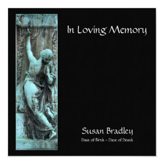 Loving Memory Funerary Art 2 Celebration of Life 5.25x5.25 Square Paper Invitation Card
