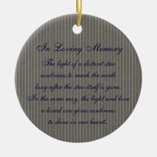 Loving Memory Gray Pinstripe Death Memorial Ceramic Ornament
