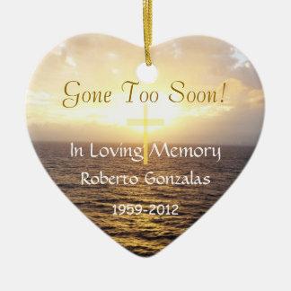 Loving Memory Memorial-Holy Cross Double-Sided Heart Ceramic Christmas Ornament