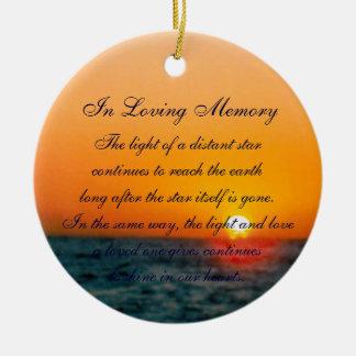 Loving Memory Pastel Ocean Sunset Death Memorial Ceramic Ornament