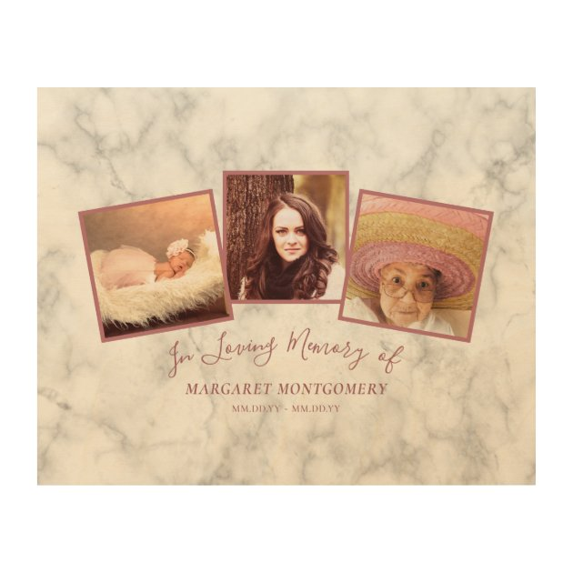 Loving Memory Rose Gold Pink Marble Photo Collage Wood Wall Art Zazzle Com