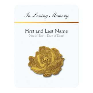"""Loving Memory Vintage Rose 1 Funeral Announcement 4.25"""" X 5.5"""" Invitation Card"""