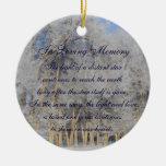 Loving Memory Winter Pogonip Death Memorial Ornament