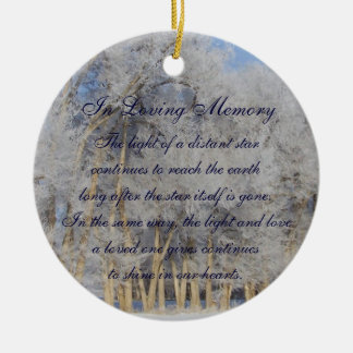 Loving Memory Winter Pogonip Death Memorial Double-Sided Ceramic Round Christmas Ornament