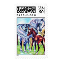 Loving Mother Baby Horse Pastel Postage