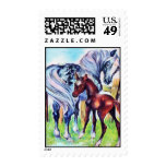 Loving Mother Baby Horse Pastel Postage Stamp