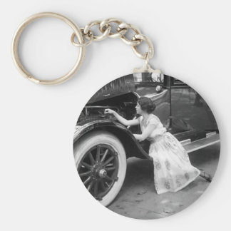 Loving My Old Car, 1920s Basic Round Button Keychain