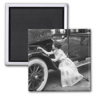 Loving My Old Car, 1920s 2 Inch Square Magnet