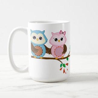 Loving Owl couple on a branch Coffee Mug