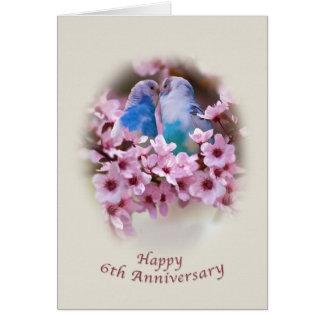Loving Parakeets 6th Anniversary Card