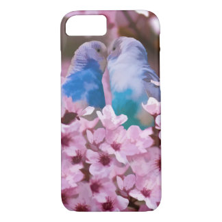 Loving Parakeets and Pink Flowers iPhone 7 Case