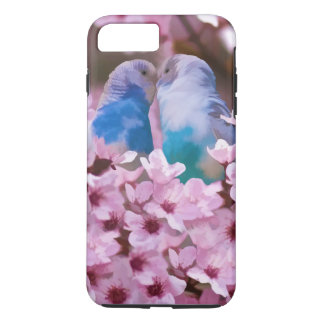 Loving Parakeets and Pink Flowers iPhone 7 Plus Case