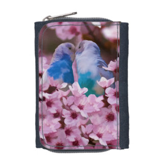 Loving Parakeets and Pink Flowers Wallet