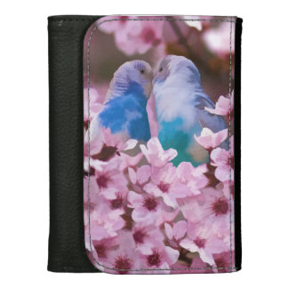 Loving Parakeets and Pink Flowers Wallets