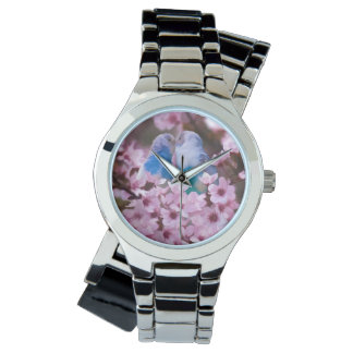 Loving Parakeets and Pink Flowers Watch