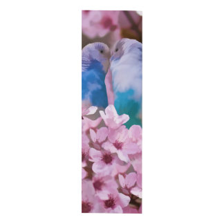 Loving Parakeets and Pink Flowers Wood Wall Art