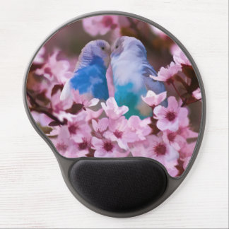 Loving Parakeets in Crabapple Tree Gel Mouse Pad