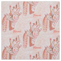loving peach giraffes personalizable fabric
