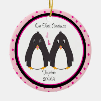 Loving Penguin Couple Christmas Ornament