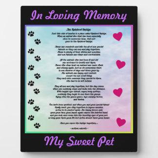 Loving Pet Memorial Display Plaque