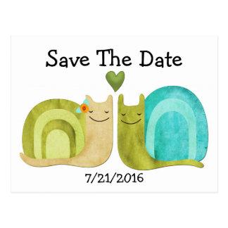 Loving Snails Wedding Save The Date Postcard