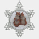 Loving Squrrels in Snow Pewter Ornament/Necklace