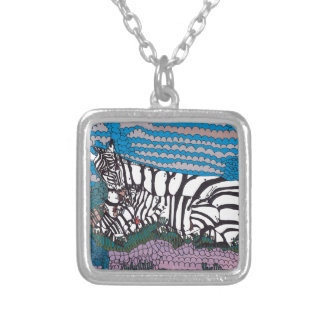 Loving stripes silver plated necklace