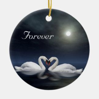 Loving swans ceramic ornament