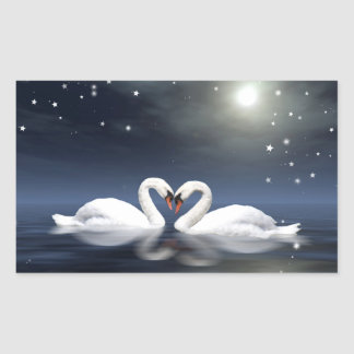 Loving swans rectangular sticker
