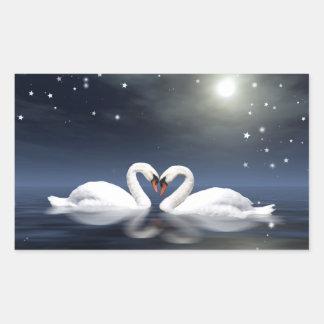 Loving swans rectangular sticker