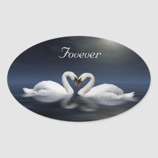Loving swans oval stickers
