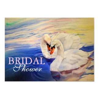 Loving Swans Watercolor Bridal Shower Invitation