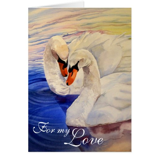 Loving Swans Watercolor Valentine's Card
