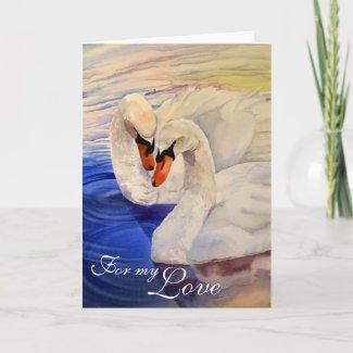 Loving Swans Watercolor Valentine's