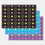 [ Thumbnail: Loving Valentine's Day Pink and Yellow Hearts Wrapping Paper Sheets ]